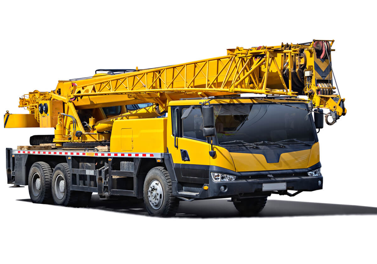 Large mobile crane on a white background