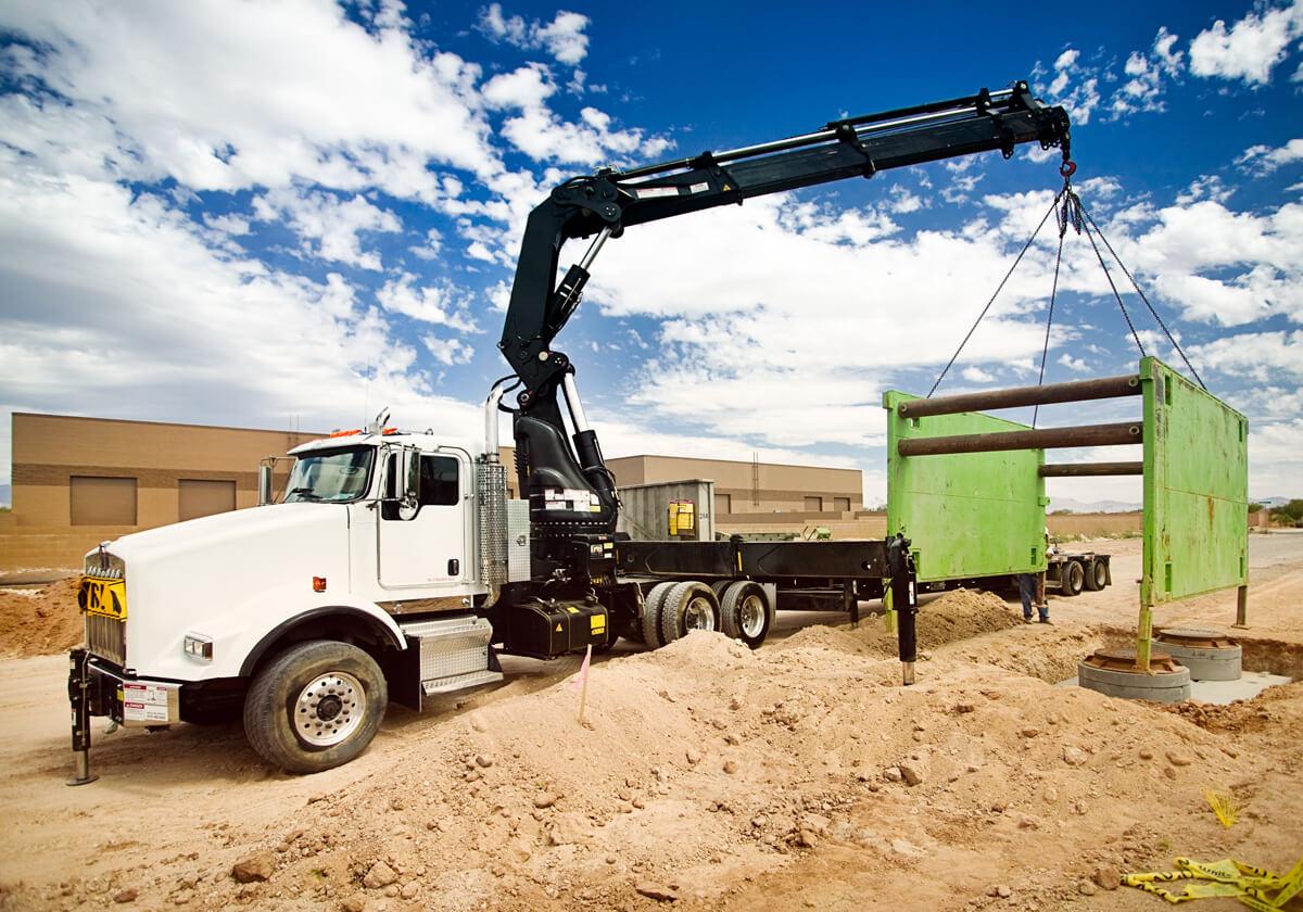 Boom crane on a jobsite