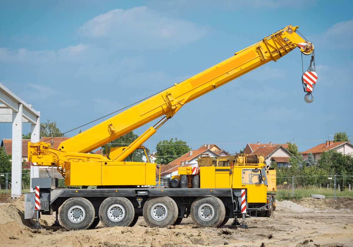 A large mobile crane on a jobsite