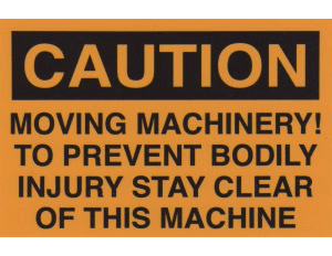 Crane safety sticker, moving machinery