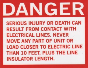 Crane safety sticker, danger electrical lines