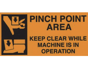 Crane safety sticker, pinch point area