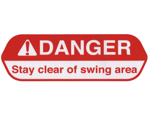 Crane safety sticker, stay clear of swing area